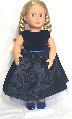 "Doll Clothes Black Velvet Dress Fits American Girl Doll & Other 18"" Dolls NEW"