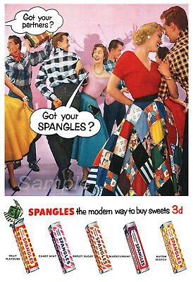 Ss02 Vintage Spangles Sweets Advertising A3 Poster Print