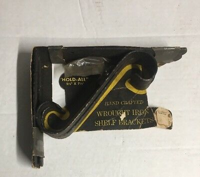 "PAIR VTG WROUGHT IRON SHELF BRACKETS CIRCA 1950s ALLIGATOR IMPRINT 5"" x 7"" Black"