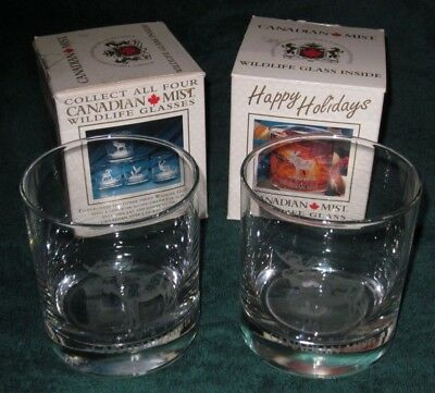 New In Box Vintage Canadian Mist Whiskey Holiday Moose Glasses