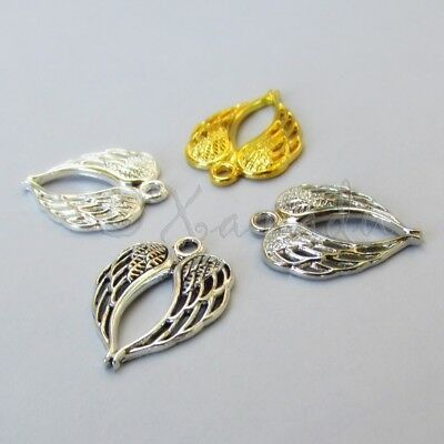Angel Wings Charms Mix 22mm Silver Gold 4PCs Charms Set CM2591 - 4, 20 Or 40PCs