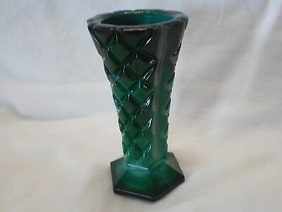 Vintage 1930S Art Deco Czech Bohemian Malachite Glass Diamond Pattern Vase