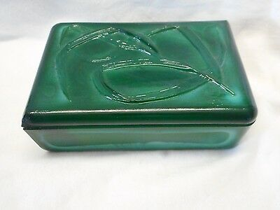 Vintage 1930S Art Deco Czech Bohemian Malachite Glass Box Leaf Pattern