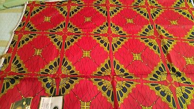 By The Yard Of  Red 100% Cotton African High Quality Real Wax Fabric.