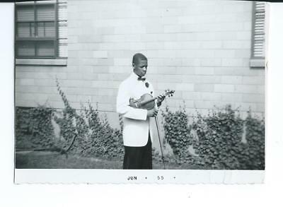 1955 Photo, African American Male, With Fiddle or Violin, Kentucky?