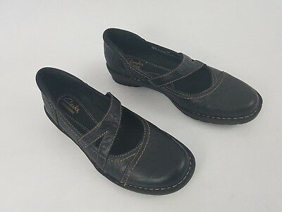 10c022d77a2 Clarks Bendables Black Mary Jane Flats Loafers Shoes Leather Upper Womens  Sz 6.5