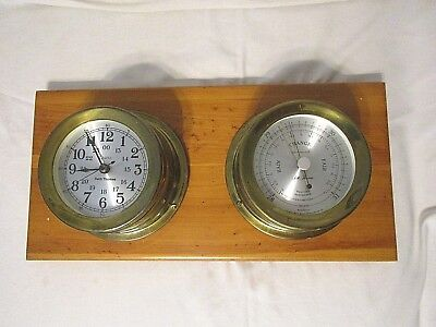 Vtg Seth Thomas Brass Maritime Ships Clock & Barometer Mounted on Wood