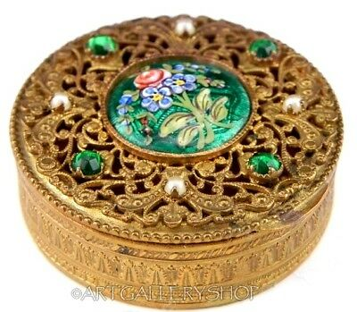 Antique French BRONZE PILL MINI BOX ENAMEL MINIATURE PAINTING CRYSTAL & PEARLS