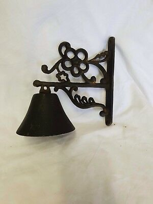 Vintage Cast Iron  Door Bell Antique Style On Bracket Wall Mounted