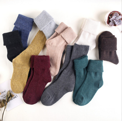 5-10 Pairs Womens Pure Wool Cashmere Knee-High Thick Multicolor Pile Socks Lot