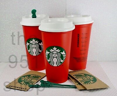 3 Starbucks 2018 Red Reusable 16oz Traveler Drinking Cup with DRINK DISCOUNT