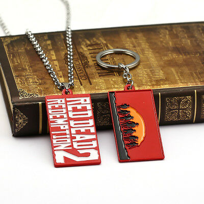 Game RDR2 Red Dead Redemption Necklace Metal Pendant Key Chain Keyrings Gift