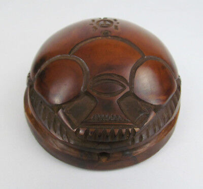 Hand Carved Polished Wood Scarab Beetle Egyptian Paperweight Sculpture  - NICE!