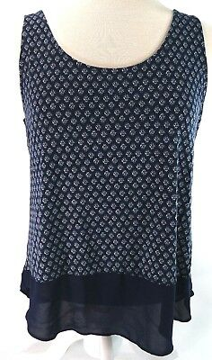 Maurices Womens Top Size Large Flowy Print Pattern Solid Sheer Navy Blue Tank