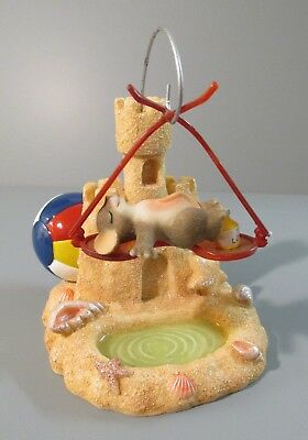 """Charming Tails """"Sunny-Glasses"""" Sand Castle / Mouse Laying on Sunglasses Figurine"""