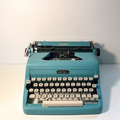 Royal Quiet Deluxe Portable Vintage Blue Typewriter