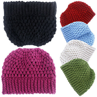 Women Solid Color Winter Soft Warm Lattice Knitted Hat Beanie Ponytail Outdoor