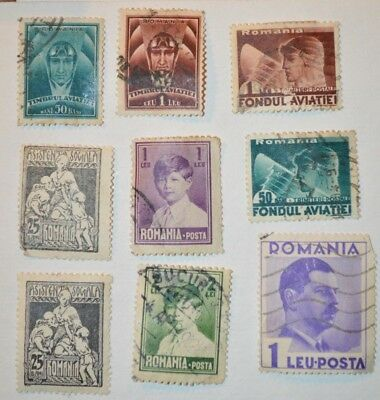 Very Rare Antique/Vintage Lot Of 9 Romanian Stamps Early 1900's - No Reserve
