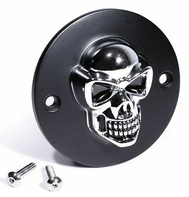 Black/Chrome 3D Skull Ignition Cover for Harley Shovel Motorcycle Bike