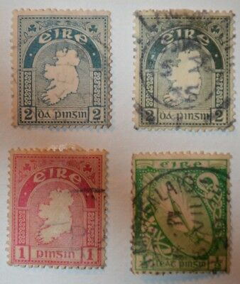 Very Rare Antique/Vintage Lot Of 4 Irish Stamps Early 1900's No Reserve