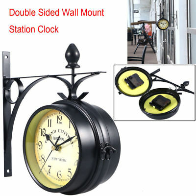 Double Sided Antique Wall Mount Station Clock Garden Vintage Retro Wall Decor