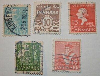 Very Rare Antique/Vintage Lot Of 5 Danish Stamps Early 1900's - No Reserve