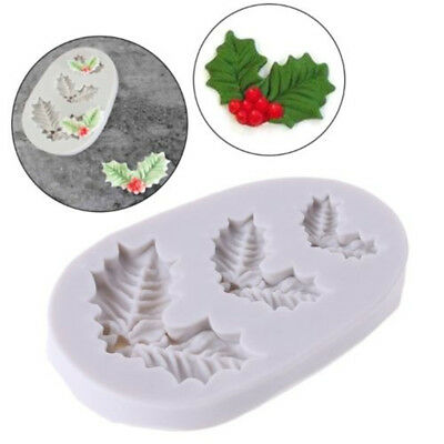 Silicone Christmas Holly Leaves Fondant Cake Sugarcraft Baking Mould Mold Tool