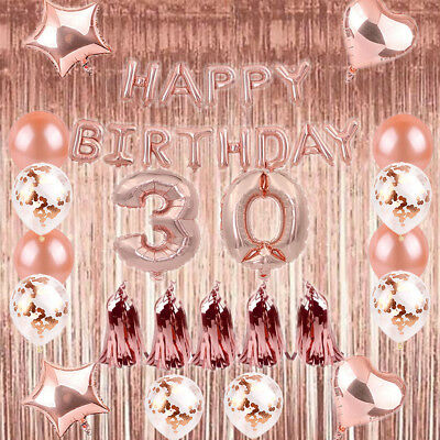 1/18/21/30/40 Foil Latex Happy Birthday Number Balloons Party Curtain Rose Gold