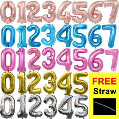 """32"""" 40"""" Giant Foil Number Balloons Letter Air Helium Birthday Age Wedding Party"""