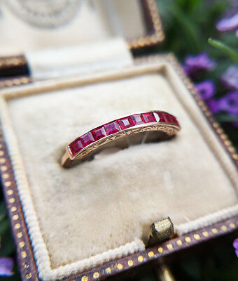 Art Deco Antique Inspired 9ct Rose Gold & Ruby Half Eternity Stack Ring