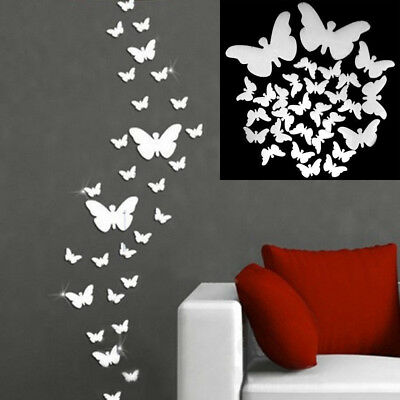 30Pcs 3D Animal Butterfly Wall Stickers Mirror DIY Craft Art Decals Mural Decor