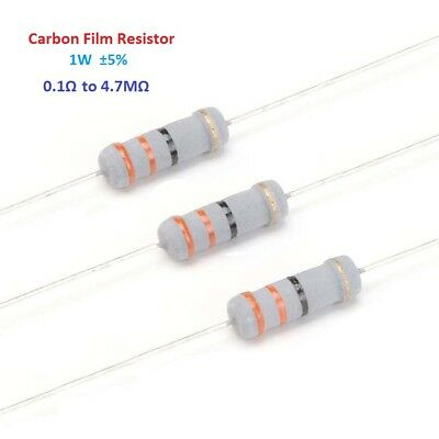 1000pcs 1W Carbon Film Resistor ±5% - Full Range of Values 0.1Ω to 4.7MΩ