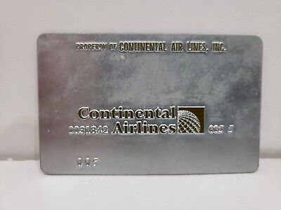 VINTAGE CONTINENTAL AIRLINES Metal Ticket Validation Plate