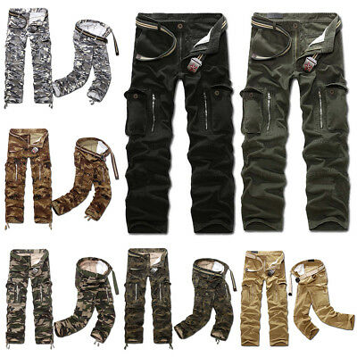 Mens Male Military Army Combat Work Camo Cargo Pants Causual Fitted Trousers