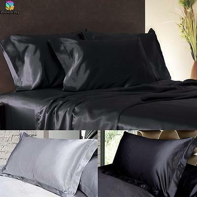 2 x Luxury Silky/Satin Pillowcase--Suit Single Double Queen King Bedding.