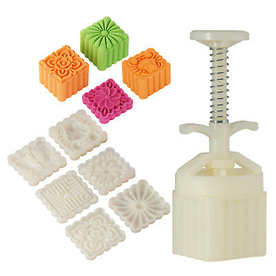 6pcs Square Cookie Stamps Adjust Thickness Moon Cake Mold Hand Press Cutter Mold