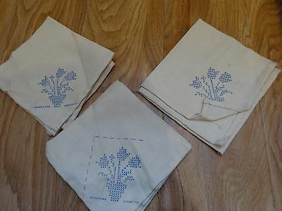"""Vintage Lot of 3 LINEN Napkins Printed for Crosstitch EMBROIDERY 12"""" Crafting"""