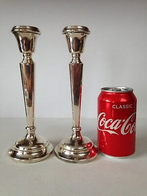 Pair Large Sterling Hallmarked 1968 Silver Candlesticks