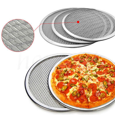 10''- 16'' Aluminum Flat Mesh Pizza Screen Round Baking Tray Net Kitchen Tools