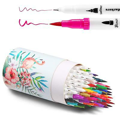 Ohuhu Art Markers Dual Tips Coloring Brush Fineliner Color Pens, 60 Colors of