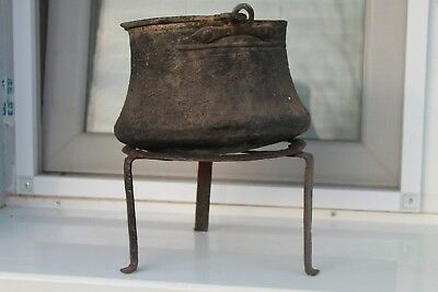 Antique Primitive Old Hand Forged Wrought Iron Fireplace Trivet Copper Cauldron