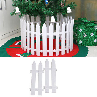 5* White Plastic Christmas Tree Fence Rail Xmas House Party Decoration DIY Decor