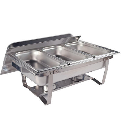 3Lx3 Stainless Steel Bain Marie Bow Chafing Dish Set Food Warmer  Buffet Pan