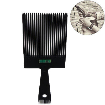 Black Flat Top Guide Comb With Liquid Bubble Level Flat topper Straight Hair`Cut