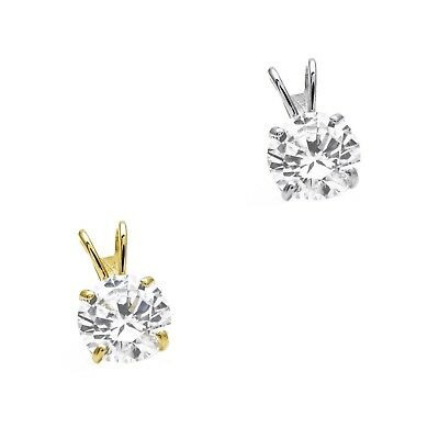 1/4ct-3.00ct Created Diamond Pendant 14K Solid Yellow Gold Solitaire Charm 4-9mm