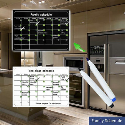 Strong Power Monthly Magnetic Calendar Board Refrigerator Sticker Dry Erase Mark