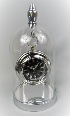 Clock Mantle Hanging Vintage style Pocket watch Clock in a Glass Dome design