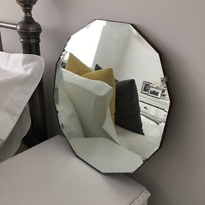 Art Deco Genuine Vintage Wall Mirror. Superb 12 sided antique bevelled edge.