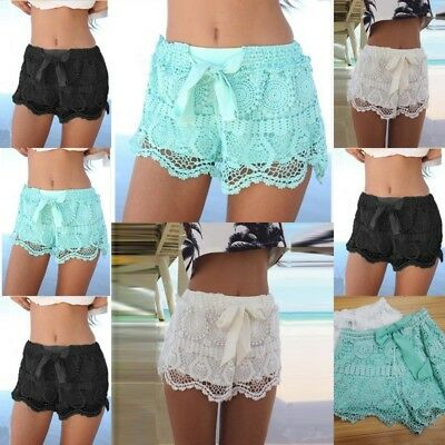 UK Women Elastic Waist Drawstring Lace Hem Beach Shorts Hot Pants Crochet Shorts