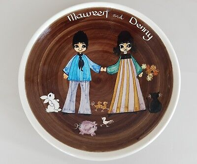 Vintage commissioned jersey pottery bowl marriage mawreen denny characters mcm